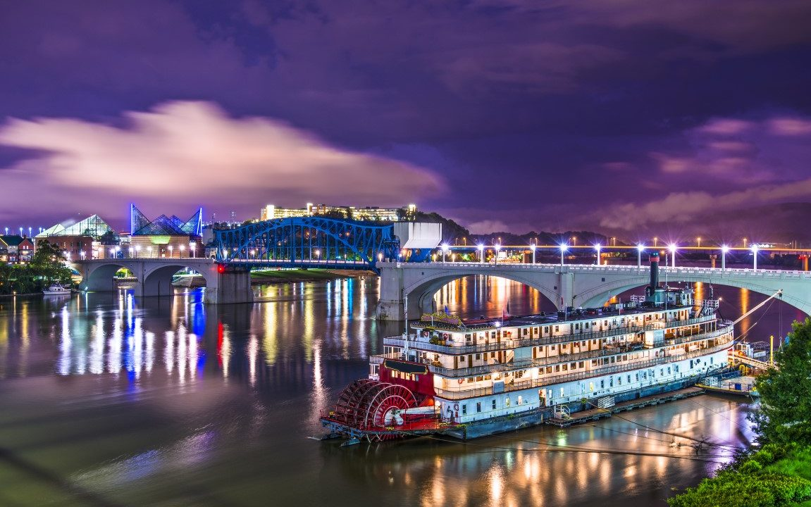 Chattanooga, Tennessee, USA downtown over the Tennessee River.