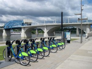 CHA Riverwalk with bikes to stay fit