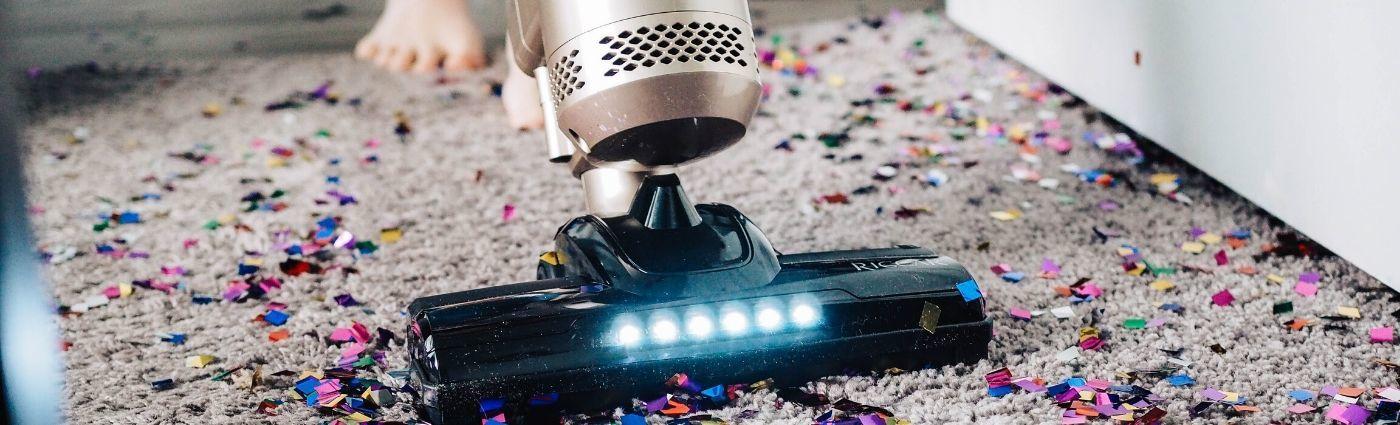 clean it, vacuum confetti